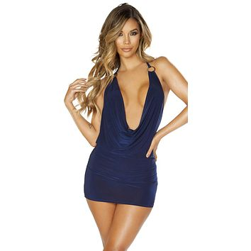 Sexy My My My! O-Ring Detail Cowl Dark Blue Mini Dress