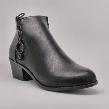Women's Black Short Stacked Heel Boot with Lace Detail