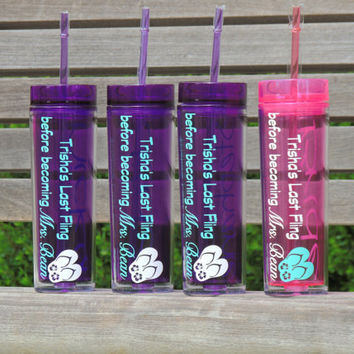 bachelorette party cups, skinny tumblers, bridesmaid cups, wedding party cups, beach theme cups, acrylic cup, personalized tumbler, cup