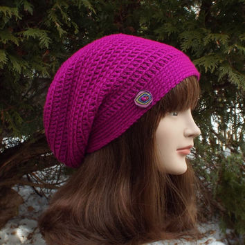Bright Magenta Slouch Beanie - Womens Slouchy Crochet Hat - Ladies Oversized Cap with Button - Hipster Hat - Baggy Beanie