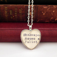 Romeo and Juliet necklace, Shakespeare jewelry, library card catalog jewelry, Dewey Decimal, theater lovers gift, romantic gift