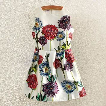 Summer Women's Fashion Romantic Print Sleeveless Vest Prom Dress Dress One Piece Dress [4919328260]