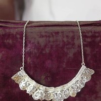Antique Lace Ruffled Necklace - Silver Lace Necklace