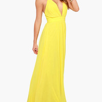 Yellow V-Neck Cross Strap Empire Maxi Dress