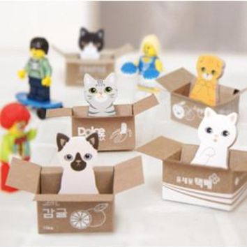 JDANCE  Carton cat notes this Cat Dog Box Stickers Cute Korean Stationery Sticky Notes Office School Supplies Post It Memo Pad