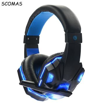 SCOMAS Stereo Gaming Headset with Over-Ear Headphones glowing noise cancelling video Game headphone with mic for pc casque gamer