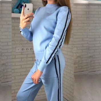 Autumn winter sweater suits 2019 New O-neck pullovers + long pants thick warm women suits sets Casual sweater