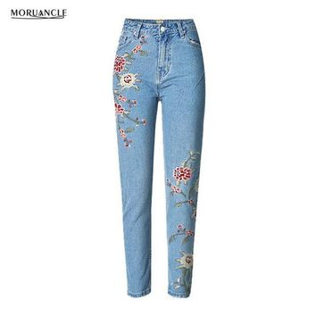 ESBONHS MORUANCLE 2017 New Fashion Womens Embroidered Jeans Pants Female High Waist Denim Trousers With Embroidery Size S-XXXL Slim Fit
