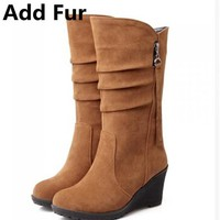 Mid Calf Wedge Slip-On Pleated Riding Boots