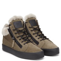 Giuseppe Zanotti Gz Kriss Made In A Favourite Mid-top Shape, These Beige Suede Sneakers Are Trimmed With Fur For A Winter-ready Finish - Best Deal Online