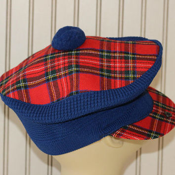 Vintage Tam O' Shanter Scottish Tartan | Made Scotland | Red Blue Plaid Tam Hat with Pom Pom | Flat Cap One Size | Highland Home Industries