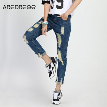Plus Size Ripped Harem Jeans For Women Summer Dungarees Fashion Boyfriend Loose Blue Denim Pants American Apparel 2016