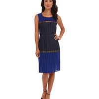 BCBGMAXAZRIA Mara Color Blocked Pleated Dress