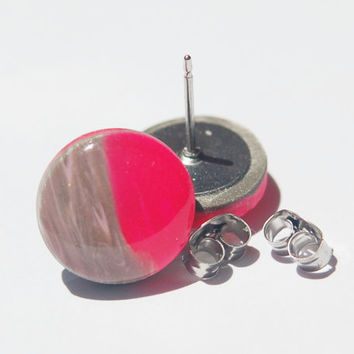 Pink and grey gray polymer clay and resin stud earrings for sensitive ears