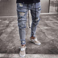 Hip Hop Gloria Jeans Men Ripped Jeans Brand Skinny Slim Distressed Pencil Pants Brand Biker Kanye West Calca Jeans Masculina