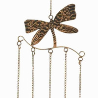 Benzara Metal Dragonfly Wind Chime Assembled with 5 Hanging Bells