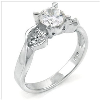 Sterling Silver 1 carat Round Cut CZ Engagement Ring with Hearts 5-9