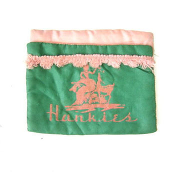Green Satin Hankie Holder Vintage 1950s Handkerchief Storage Burlesque Pin Up Girl Decor Pink Velvet Woman Deer Bride Bridal Wedding Gift