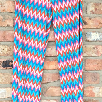 Zig Zag Mint, Red, White & Pink Palazzo Pants *FINAL SALE*