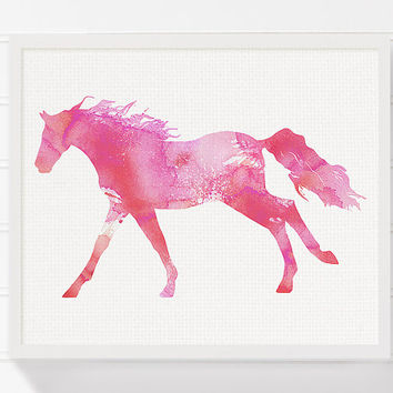 Watercolor Horse Painting, Horse Art Print, Horse Poster, Equestrian Girl Art, Girls Room Decor, Nursery Wall Decor, Girls Wall Art, Pink