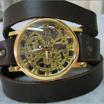 Steampunk Skeleton Watch Leather Wrap Watch Dark brown leather Steampunk Mechanical Gold Bracelet leather Watch with Roman Numbers FREE SHIP