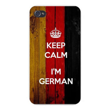 Apple Iphone Custom Case 4 4s Snap on - 'Keep Calm I'm German' w/ National German Flag Wood Grain