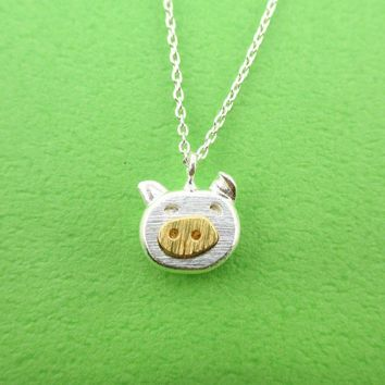 Adorable Piggy Piglet Face Shaped Pendant Necklace in Silver