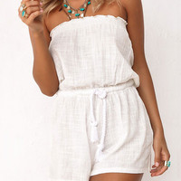Summer White Off Shoulder  Rompers