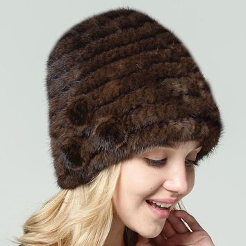 QIUSIDUN Pure Natural Knitting Real Mink Fur Hat Women's Winter Hats Beanies Russian Fur Cap Fur Pompom Beanie Fashion Caps 2017