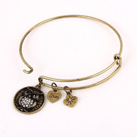 Bangle Charm Bracelet - Owl - Antique Gold or Silver