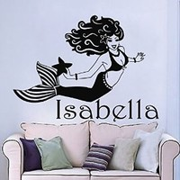 Personalized Name Wall Decals Girl Decal Vinyl Water Sticker Mermaid Art For Nursery Bedroom Home Decor Murals MN958