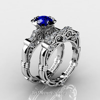 Art Masters Caravaggio 14K White Gold 1.0 Ct Blue Sapphire Diamond Engagement Ring Wedding Band Set R623S-14KWGDBS