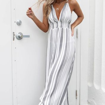 Song Bird Striped Maxi Dress