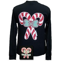Girlie Girl Originals Christmas Candy Canes Big Bow Long Sleeves T Shirt