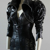 Bolero Jacket leather look Steampunk Black Cropped. Sexy, Edgy and Extremely Chrisst - Unique Fashion - SPECIAL ETSY PRICE