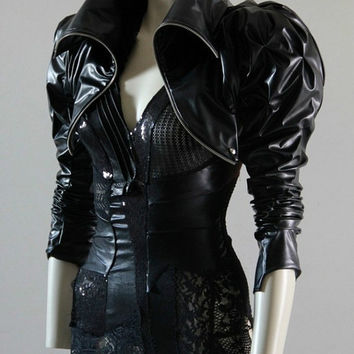 Bolero Jacket Leather Look Steampunk From Chrisst On Etsy