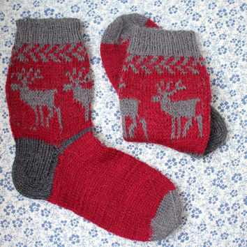 Men's Deer Ornamented Thick Wool Handknitted Socks