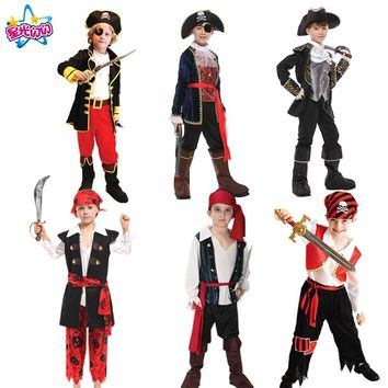 Free shipping Costume for Boys Kids  Pirate Costumes Fantasia Infantil   Pirates of the Caribbean Dress Cosplay Clothing