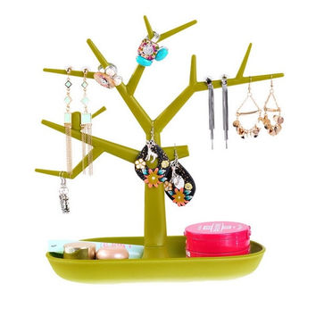 1PC Green Tree Stand Jewelry Earring Necklace Ring Show Rack Holder Display = 1705679428