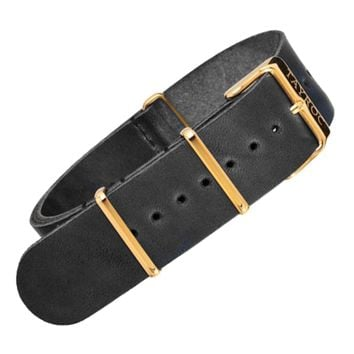 22mm Black Leather NATO - Gold Buckle