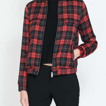 Red Blue Plaid Cropped Long Sleeve Jacket