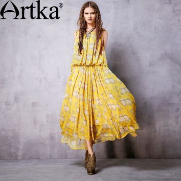 Artka Yellow Floral Spaghetti Strap Maxi Dress