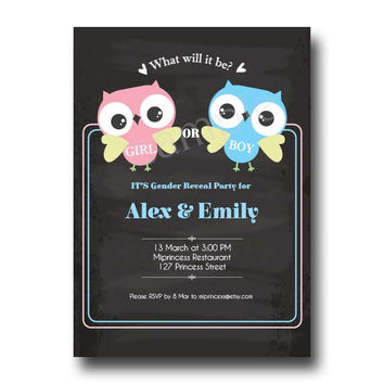 OWL Boy Or Girl Gender Reveal Invitation / boy or girl announcement Party / baby owl Chalkboard - card 97