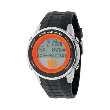 Game Time Clemson Tigers Stainless Steel Digital Schedule Watch - Men (Black)