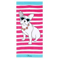 Preppy Frenchie Beach Towel, French Bulldog