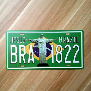 Brazil Cristo Jesus Christ Redentor Vintage Tin Sign Metal Painting iron crafts wall decoration bar pub cafe home plaque 15x30cm