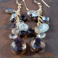 Sparkling Smoky Quartz Cluster Earrings with Aquamarine & Labradorite, 14k Gold Filled