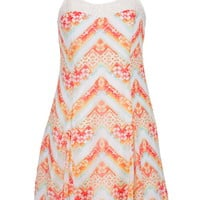 Lace Trim Patterned Chevron Stripe Dress - Multi