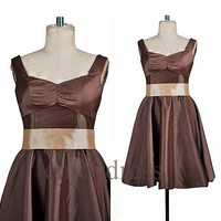 Custom Brown Taffeta Short Prom Dresses Bridesmaid Dresses Formal Evening Gowns Wedding Party Dresses Fashion Party Dresses Evening Dress
