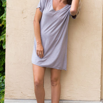 Aulora V-Neck Taupe T-Shirt Dress